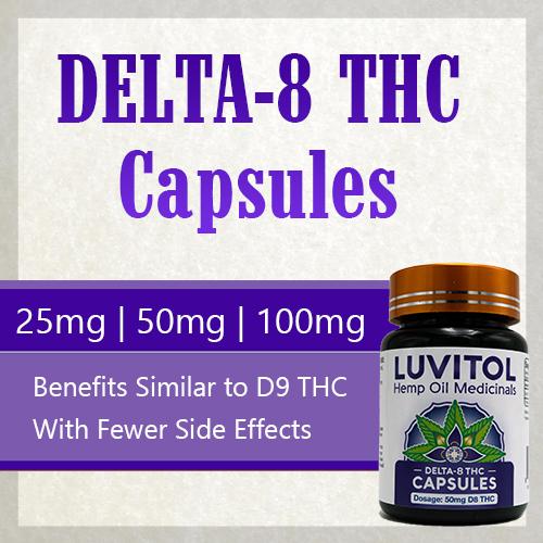 Delta-8 THC Capsules 25mg 50mg 100mg dosage