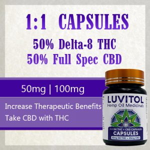1:1 Delta 8 THC to CBD capsules - 50mg 100mg