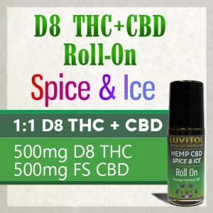 Topical Delta 8 THC plus CBD pain relieving roll on